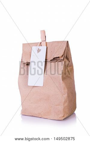 Brown Paper Bag Lunch , gift box recycle Isolated on White Background