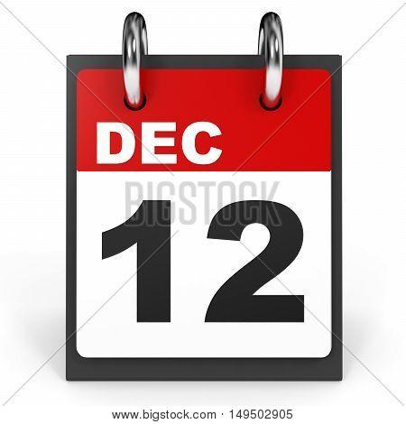 December 12. Calendar On White Background.