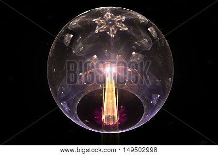 3D illustration glass ball of gray color with a pattern on top of the six-pointed star and a bright yellow balloon beam penetrating the bottom in pink overstie and flash at the end of the beam in the center of the ball.
