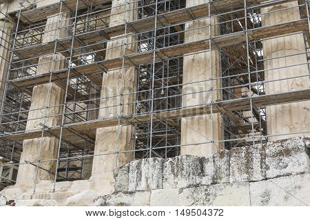 Athens - Greece - September 21,2016 :reconstruction Work On The Parthenon, The Temple In The Acropol
