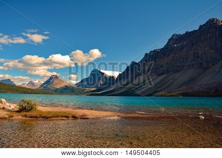 Landscape of blue Hector Lake in Banff National Park, Canada