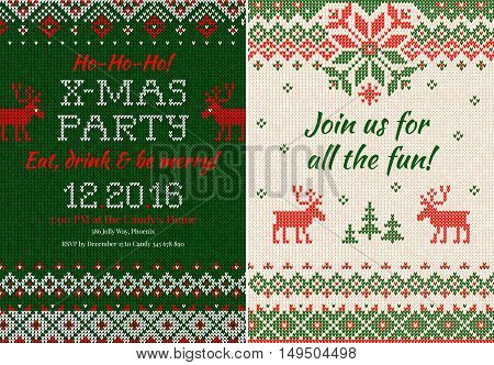 Knitted Invitation To The Christmas X-mas Party. Front And Back Sides. Handmade Knitting Abstract Ba