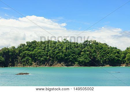 Ocean and forest cliff at Manuel Antonio Costa Rica