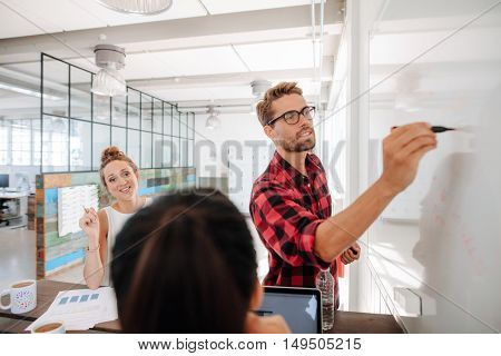 Casual young businesswoman making a presentation on white board and explaining to coworkers during meeting in conference room.