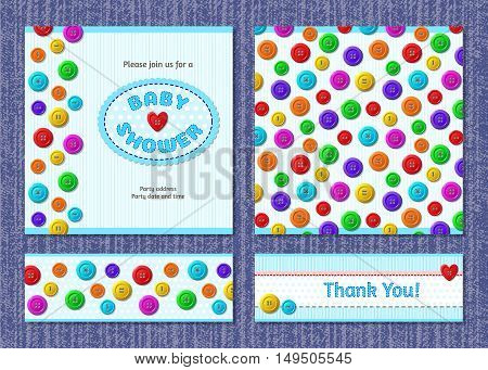 Vector baby shower invitation and thank you card with colourful buttons design