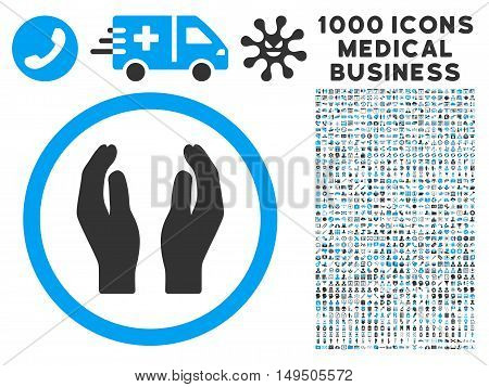 Applause Hands icon with 1000 medical commerce gray and blue glyph pictograms. Design style is flat bicolor symbols white background.