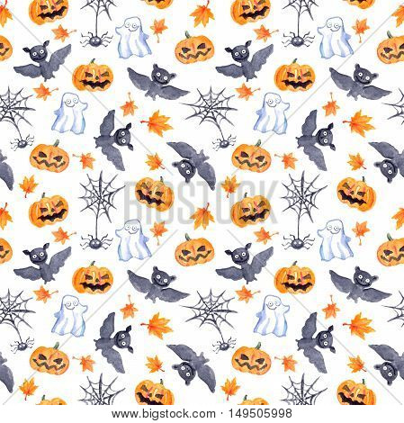 Halloween seamless pattern with halloween pumpkin, bat, web and ghost. Cute naive watercolor