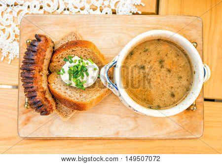 Soup zur zurek - component of a traditional Polish soup Sourdough