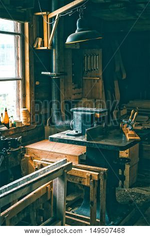 Vintage workshop full of old carpentery tools and stuff