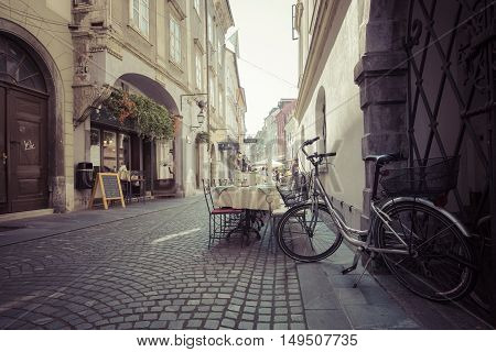 Ljubljana, Slovenia - September 24, 2016: Beautiful Street In Old City Centre Near The City Hall In