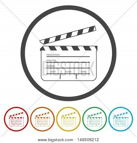 Simple movie flap icon set on white background