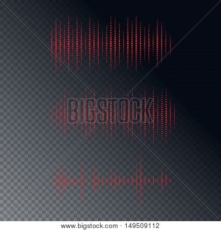 Collection of waveforms. Vector illustration for club, radio, party, concerts or the audio technology advertising background.