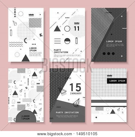 Set invitation with geometric shapes. Covers for books, postcards, notebooks, cover magazines. Hipster posters