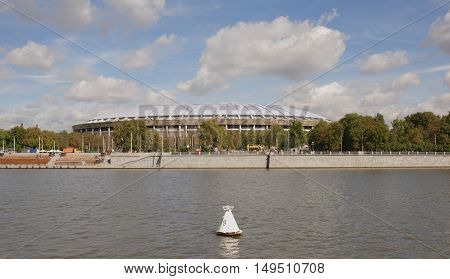 Moscow. View from the boat on the Grand Sports Arena Luzhniki