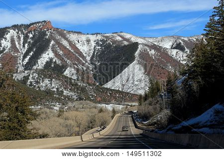 Driving to Aspen, Colorado; mountains in the background