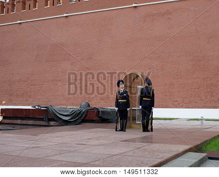 Moscow Russia -September 082016: To relieve a sentry on the post at the Eternal Flame at the Tomb of the Unknown Soldier