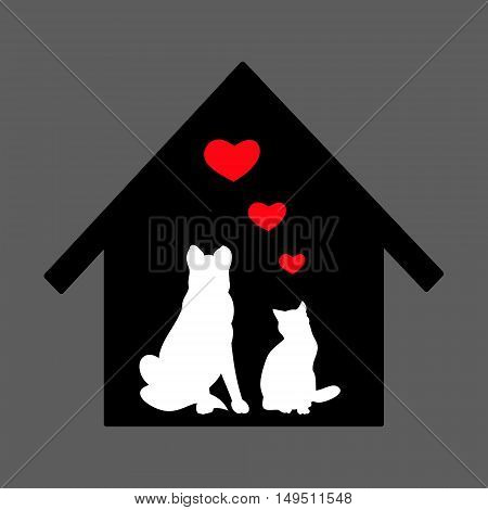Pets waiting for master. Vector illustration on gray background. Silhouette of cats and dogs against the black house.