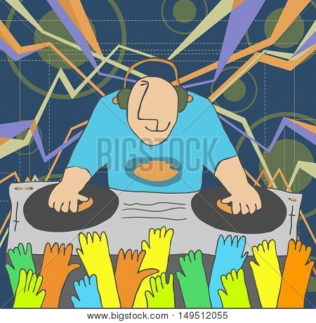 Cartoon funny DJ illustration. DJ performing music and people dancing with hands up