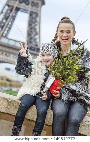 Happy Mother And Child With Christmas Tree In Paris, France