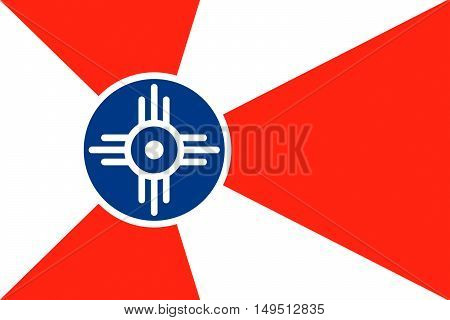 Flag of Wichita is the city in State of Kansas United States