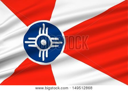 Flag of Wichita is the city in State of Kansas United States. 3D illustration