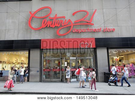 NEW YORK CITY, TUESDAY, SEPTEMBER 13, 2016: Shoppers walk past a Century21 department store in lower Manhattan.