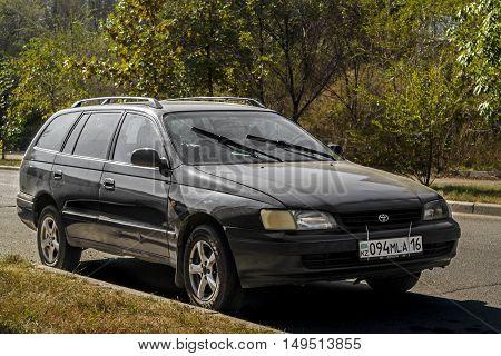 Kazakhstan, Ust-Kamenogorsk, september 30, 2016: Toyota old car, old japan car in the street, combi, wagon