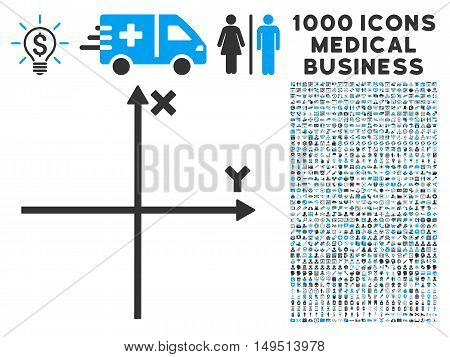 Cartesian Axes icon with 1000 medical business gray and blue glyph pictograms. Clipart style is flat bicolor symbols white background.