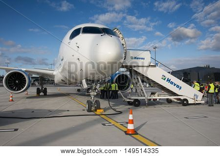 RIGA - SEPTEMBER 27: airBaltic new Bombardier CSeries passenger jet on display at Riga Airport - September 27, 2016 in Riga, Latvia