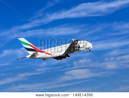 Kloten, Switzerland - 29 September, 2016: Emirates Airbus A-380 after taking off in Zurich Airport (also known as Kloten Airport). Emirates is an airline based in Dubai United Arab Emirates it is the largest airline in the Middle East.