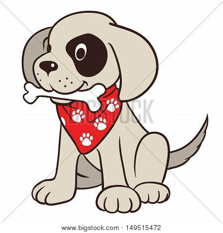 Vector hand drawn cartoon illustration of a cute friendly dog character with bone in mouth wearing red neck bandanna with paw print