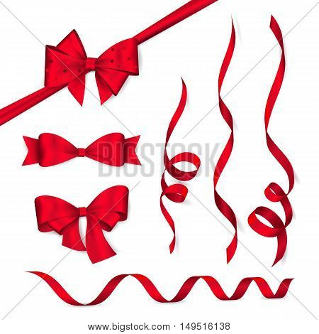 Vector set of shiny red ribbons and bows. Collection of realistic elements for your design gift card or invitation. Isolated from the background.