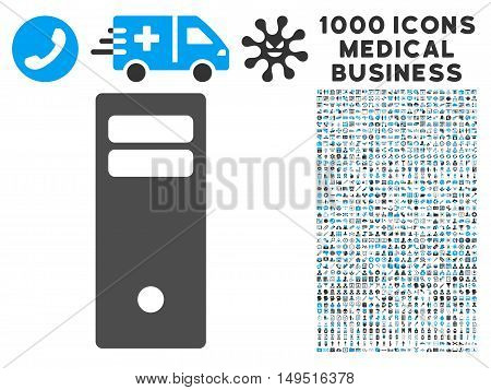 Computer Mainframe icon with 1000 medical commerce gray and blue glyph pictograms. Design style is flat bicolor symbols white background.
