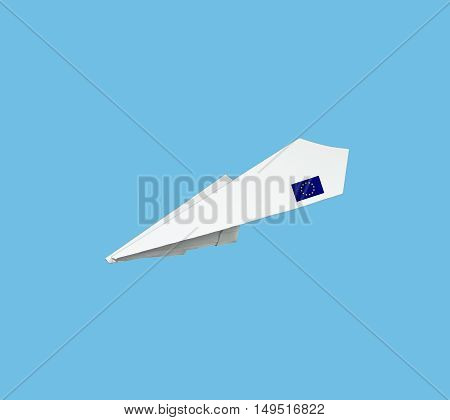 Plane Made From Paper With Flag.