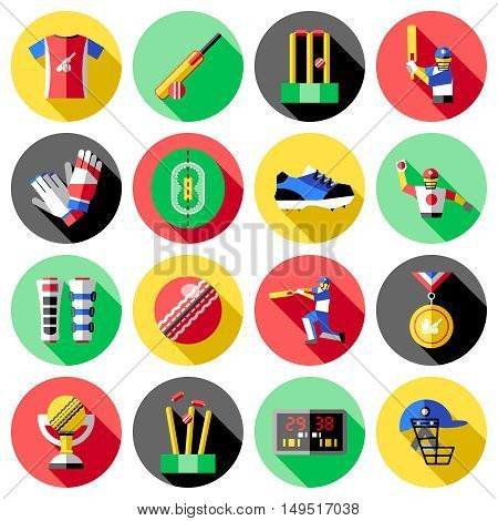 Cricket round colored isolated icon set with equipment for playing in this sport vector illustration