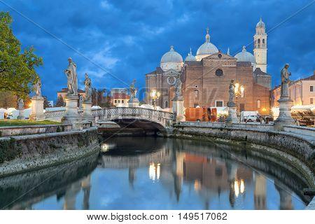 View on Basilica of Saint Giustina from Prato della Valle square in the evening Padova Italy