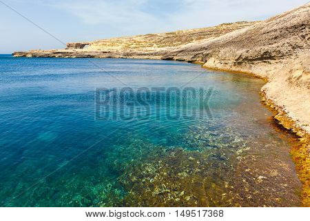 Azure Window and clear sea, famous stone arch of Gozo island in the sun in summer, Malta