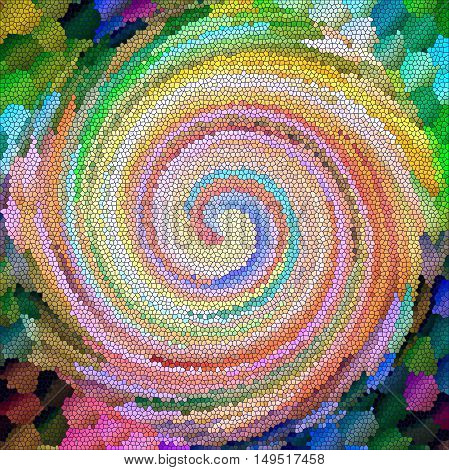 Abstract coloring background of the abstract background with visual lighting, mosaic,twirl,spherize and stained glass effects.Good for your project design