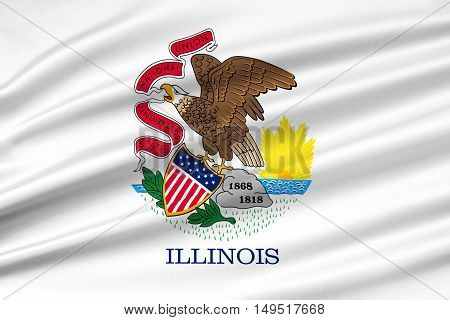 Flag of Illinois is a state of United States. 3D illustration
