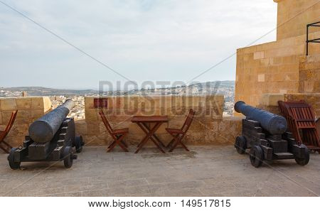 Gozo, Rabat, cannon in castle with cloudy sky
