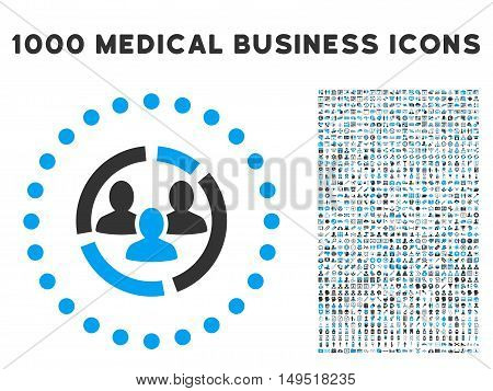 Demography Diagram icon with 1000 medical commerce gray and blue glyph pictographs. Design style is flat bicolor symbols white background.