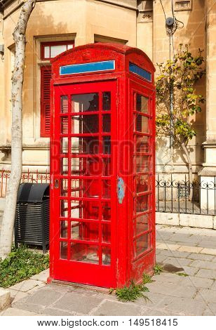 English red telephone box on Malta a summer