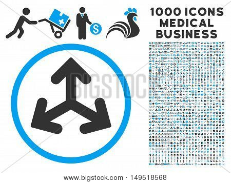 Direction Variants icon with 1000 medical commerce gray and blue glyph pictograms. Clipart style is flat bicolor symbols white background.