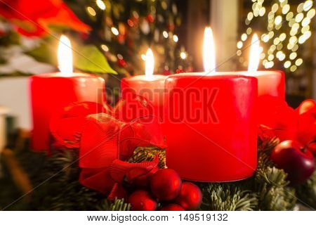 advent wreath with candles for 4. advent