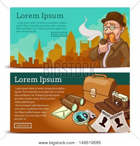 Detective agency horizontal banners with private eye on city background and objects for business isolated vector illustration