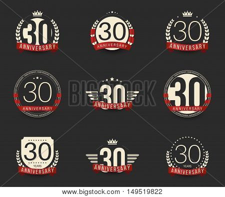 Thirty years anniversary logotype with branches, ribbons, wings, crowns. 30th anniversary logo collection. Vector illustration. poster