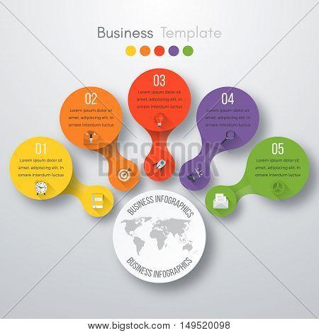 Timeline Vector 3d Infographic five options. Stock vector