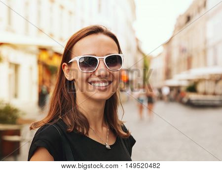 Smiling Woman On The Background Of European Old Town Street. Ljubljana, Slovenia