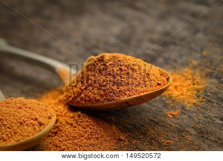 chili powder in a teaspoon on a dark wooden background