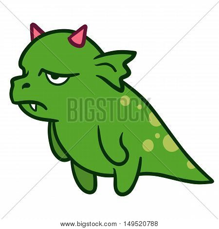 Cartoon hand drawn vector illustration of a brooding funny fat green dragon monster character mascot with pink horns standing up and looking sad frustrated and exasperated side view